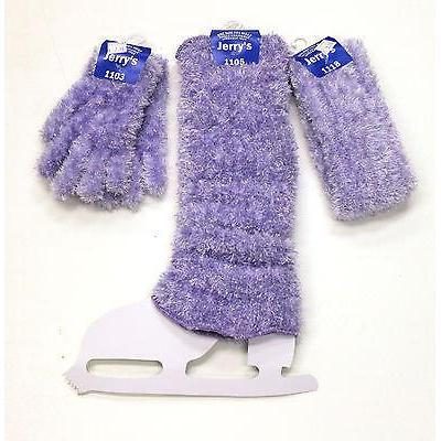 New Figure Skating Set Furry Gloves Legwarmers & Headband Lavender
