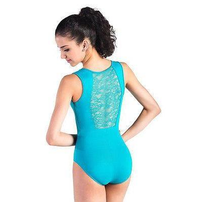 L904 Dance Bodysuits Lace Back Black Microfiber AM Medium