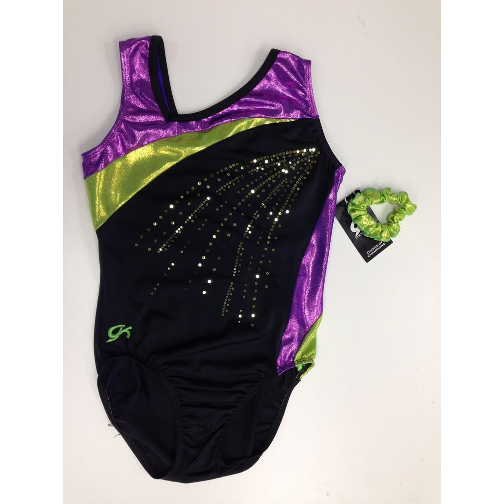 GK Elite Gymnastics Leotard Sparkly Purple & Green Adult Large