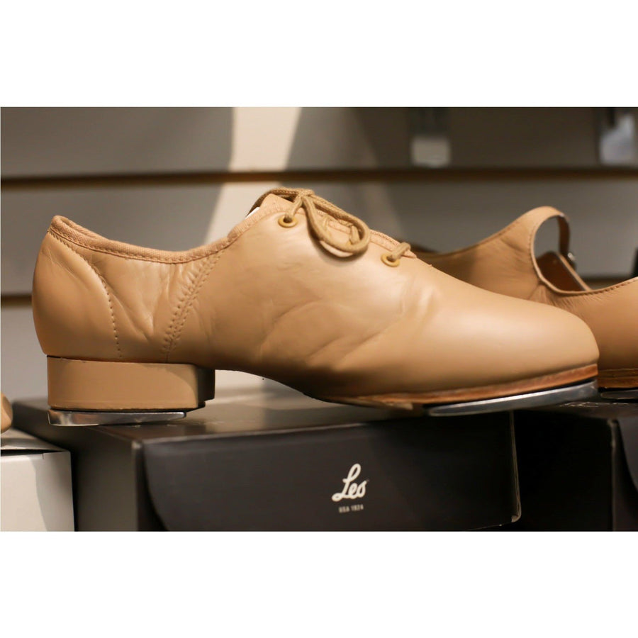 NEW TAP SHOES CARAMEL LEO'S SPLIT SOLE JAZZ TAP  LS3006L LACE UP 3/4'' HEEL