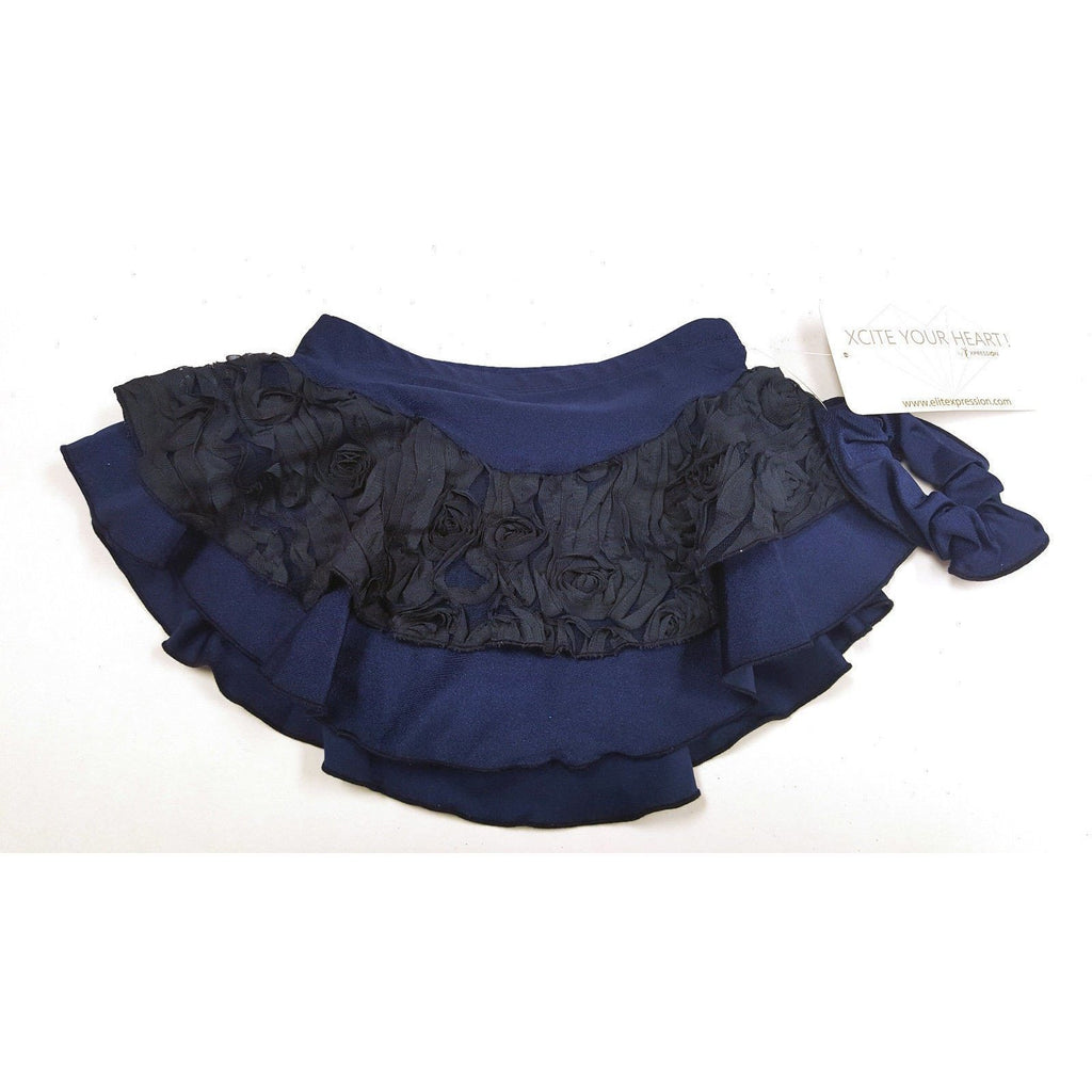 Bagong Skating Dress Navy Flowers Ribbons Double Layer Elite Xpression CM 8-10