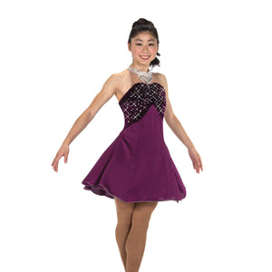 Figure Skating Dress Burgundy 253 Crystals Cocktail Dress Size Adult Large