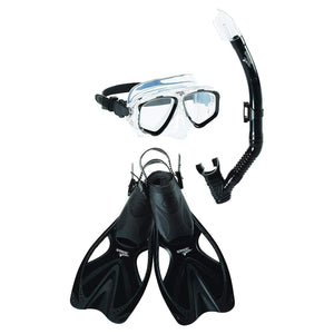 Speedo Adult Adventure Mask Snorkel Fin Set- Black /Black