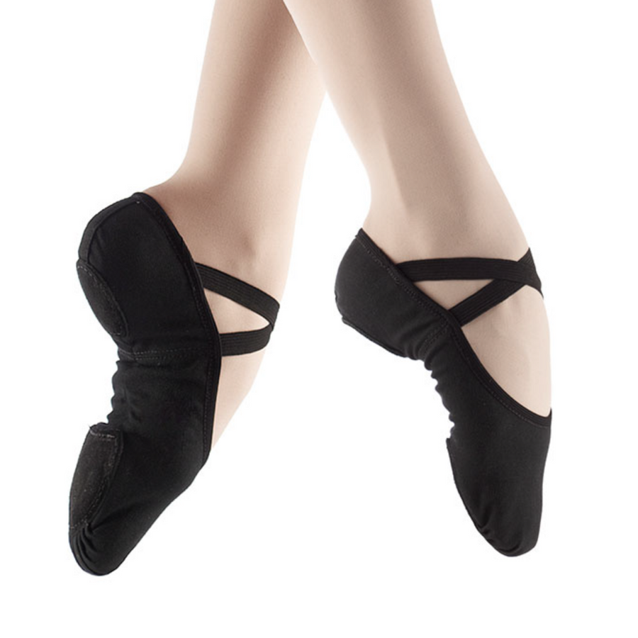 New So Danca Ballet Slippers sd16 black Stretch Canvas No Drawstring
