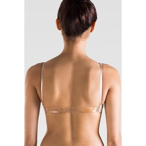 So Danca Nude Dance Bra Adult Size Clear Back Strap back
