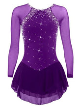 Pre Order Competition Figure Skating Dress Long Sleeves with  Crystals BSU001
