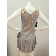 Competition Figure Skating Dress Grey Mesh BSU2082 Size Adult Small