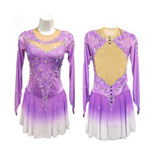 Competition Figure Skating Dress Lilac Ombre Long Sleeves BSU2682.24