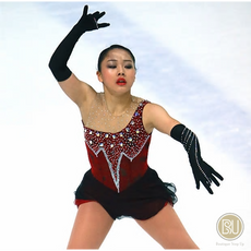 Competition Figure Skating Dress Red Black Long Gloves