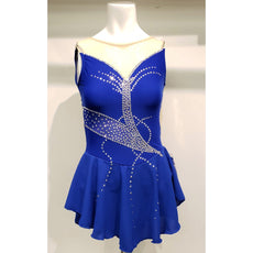 Competition Skating Dress Royal Sleeveless Offset Back BSU20-23 Size Youth 12-14
