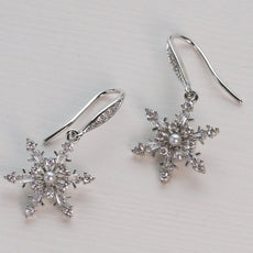 Snowflake earring Figure Skating Jewelry Silver Tone
