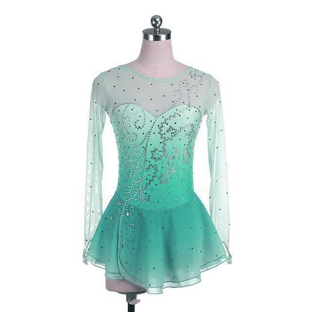 Mint Green Ombre Konkurrence Skøjtekjole Crystal Design BSU12062.MG