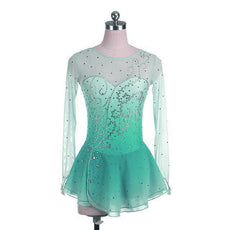 Mint Green Ombre Competition Skating Dress Crystal Design BSU12062.MG