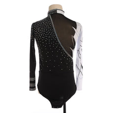 Boys & Mens Figure Skating Top Shirt in Black & White Long Sleeves