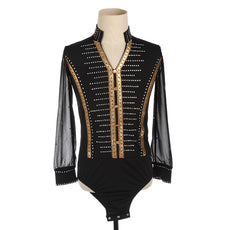 Figure Skating Shirt or Top Black & Gold Leotard Style