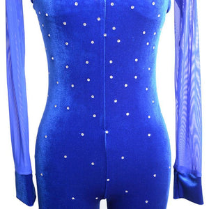 Figure Skating Catsuit with Mesh Sleeves Crystals Available in Black & other Colors