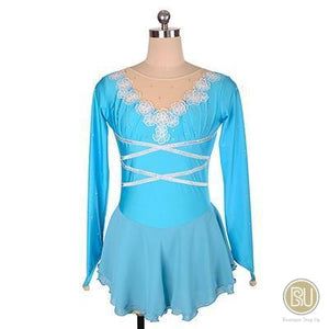 Figure Skating Dress Light Blue Long Sleeves SU76