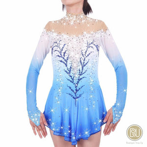 Figure Skating Dress Blue Ombre Long Sleeves, SU180902