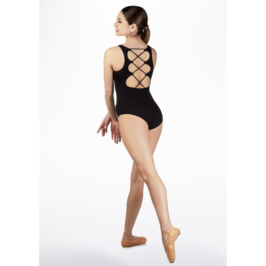 RDE1652 Isabella Dance Bodysuit Black Microfiber Lace Up Back Style Youth & Adult Sizes