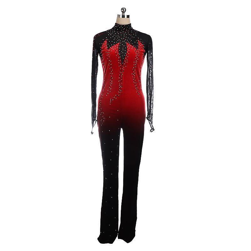 Red Ombre Catsuit Competition Skating Dress BSU61122