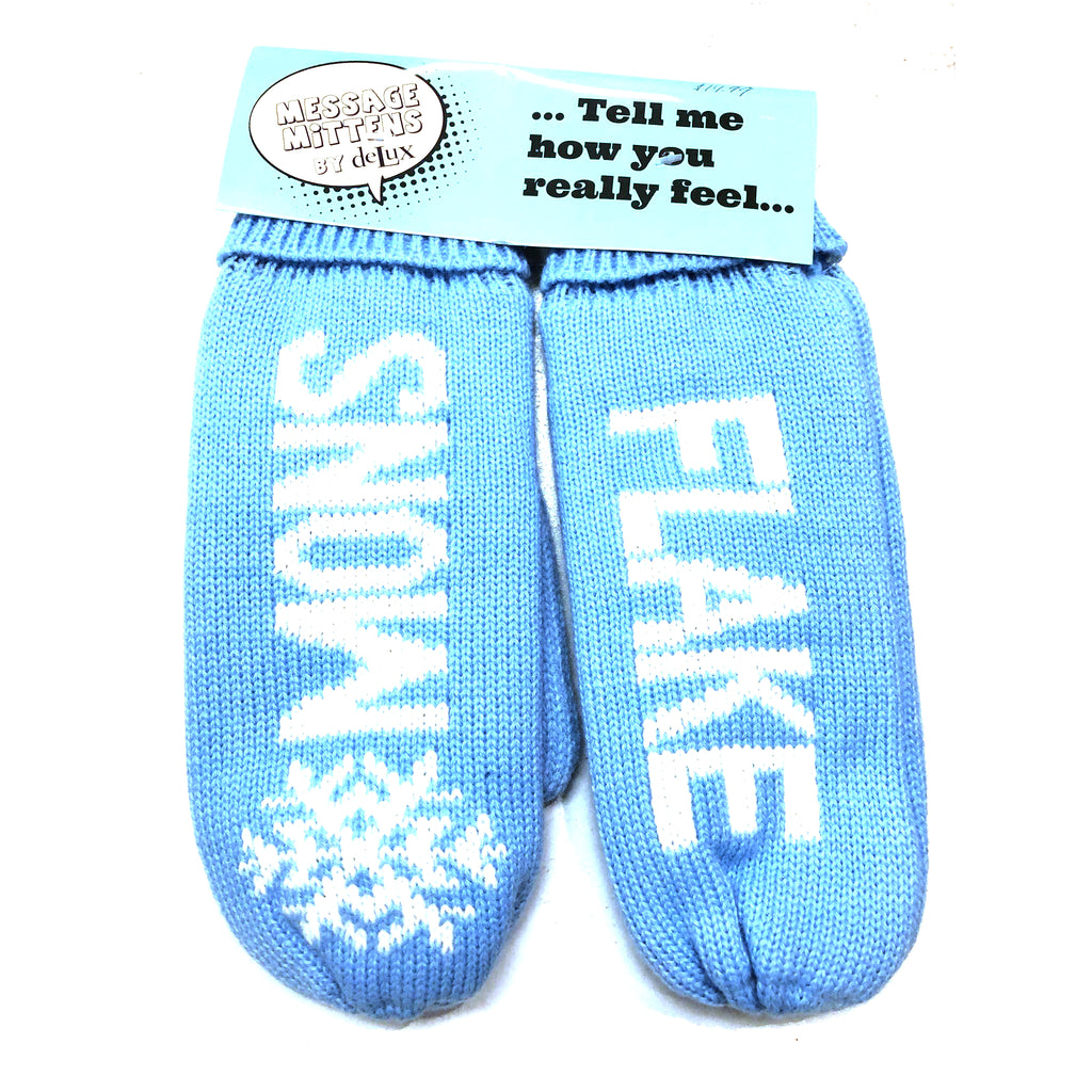 "Figure Skating Mittens Message Mittens ""Snow Flake"" Blue and White"