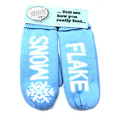 "Figure Skating Mittens Message Mittens na ""Snow Flake"" na Blue at White"