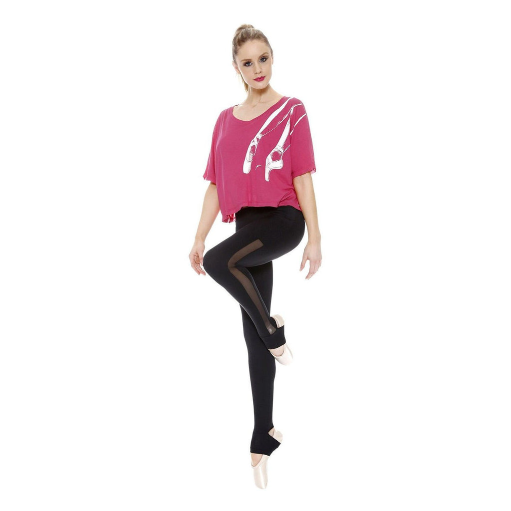Takže Danca Dance Stirrup Leggings s Mesh Insert L1094 Black