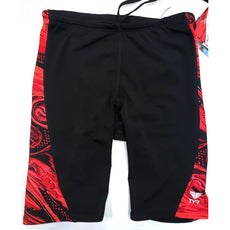 Tyr Boy's Jammer Swimsuit Black Red Youth Size 8 / 22