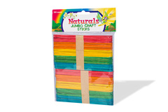 Jumbo Craft Sticks - Real Wood - 5 Fun Colors