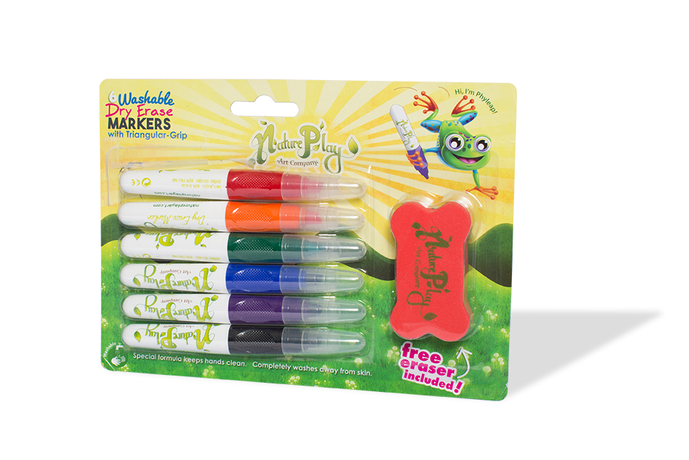 Triangular Grip Dry Erase Markers - Set of 6 w/Free Eraser