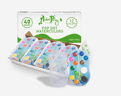 "Watercolor ""Pop Dots"" Paint Trays with Wooden Brush"