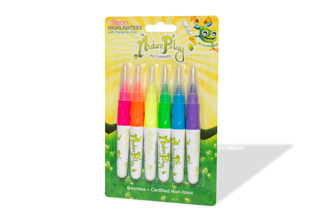 Neon Highlighters with Triangular Grip