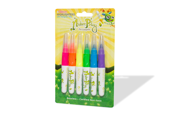 Neon Highlighters with Triangular Grip - Set of 6 Colors