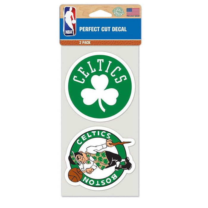 "Boston Celtics Set of Two Perfect Cut Decals 4"" x 4"" Decals WinCraft"