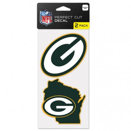 Green Bay Packers Wisconsin State Shape Set of Two Perfect Cut Decals 4