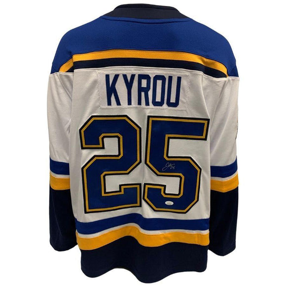 Jordan Kyrou St Louis Blues Autographed Fanatics Away Jersey - JSA Sports Memorabilia Fan Cave Sports