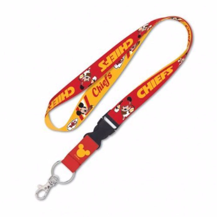 Kansas City Chiefs Disney Mickey Mouse Lanyard with Detachable Buckle - Fan Cave Sports