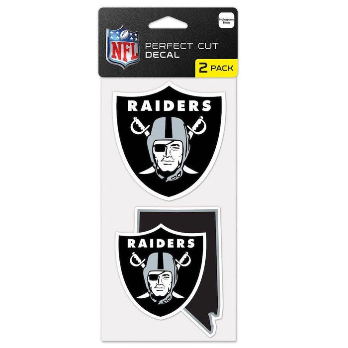 "Las Vegas Raiders Nevada State Shape Set of Two Perfect Cut Decal 4"" x 4"" - Fan Cave Sports"