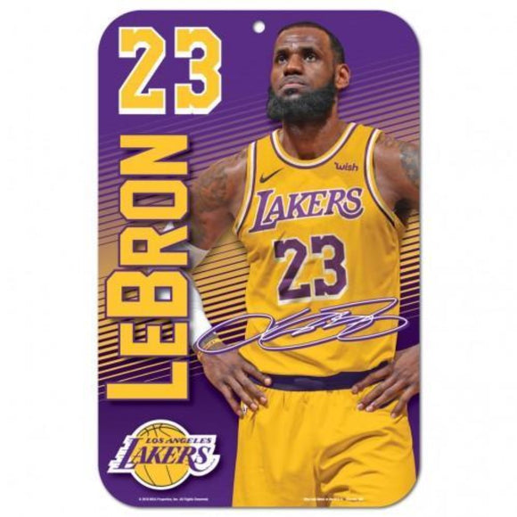 LeBron James Los Angeles Lakers Plastic Player Clubhouse Sign - Fan Cave Sports
