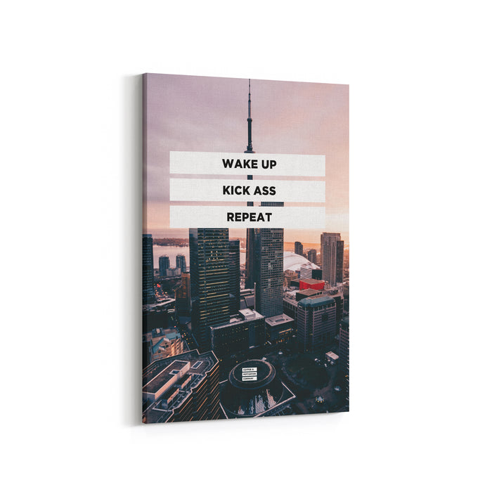 Wake Up Kick Ass Repeat - Premium City Design Motivational Canvas Wall Art -  Canvas - Coffee & Motivation Company