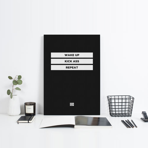 Wake Up Kick Ass Repeat - Premium Black Design Motivational Canvas Wall Art -  Canvas - Coffee & Motivation Company