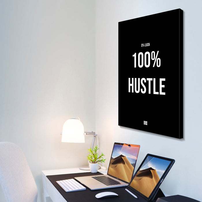 0% Luck 100% Hustle - Premium Motivational Canvas Art