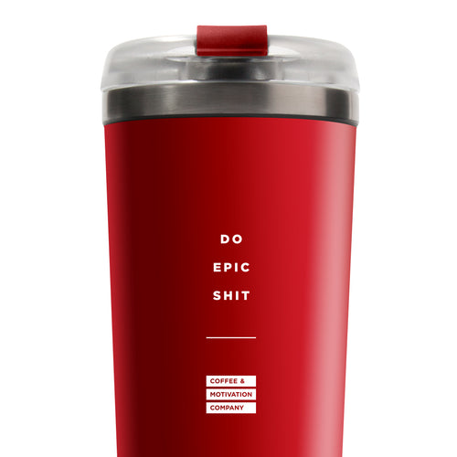 Do Epic Shit - 24oz Matte Red Motivational Travel Tumbler + Straw