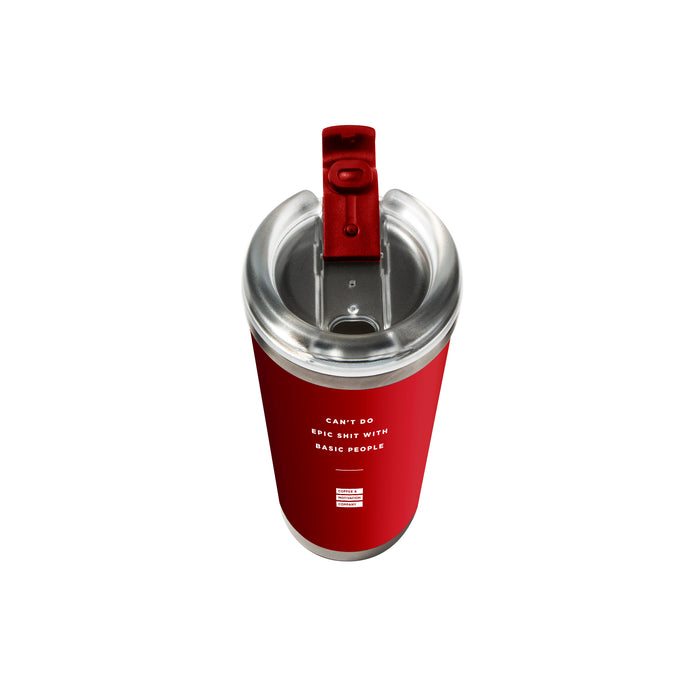 Can't Do Epic Shit with Basic People - 24oz Matte Red Motivational Travel Tumbler + Straw -  Travel Mugs - Coffee & Motivation Company