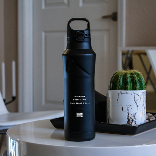 I'd Rather Hustle 24/7 Than Slave 9 to 5 - 20.9oz Matte Black Motivational Thermal Tumbler Bottle & Travel Mug -  Travel Mugs - Coffee & Motivation Company