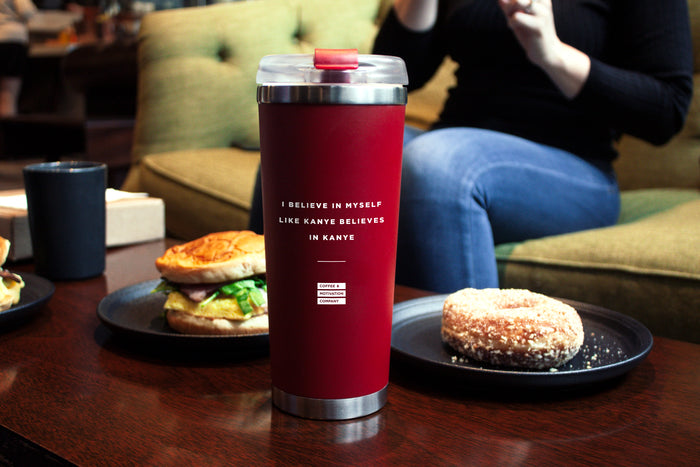 I Believe in Myself like Kanye Believes in Kanye - 24oz Matte Red Motivational Travel Tumbler + Straw -  Travel Mugs - Coffee & Motivation Company