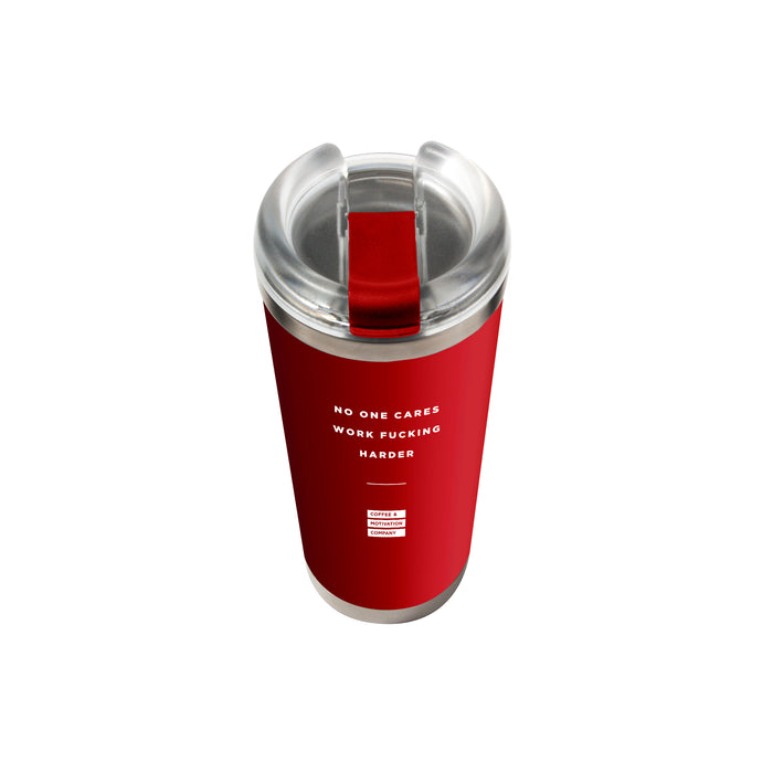 No One Cares Work Fucking Harder - 24oz Matte Red Motivational Travel Tumbler + Straw -  Travel Mugs - Coffee & Motivation Company
