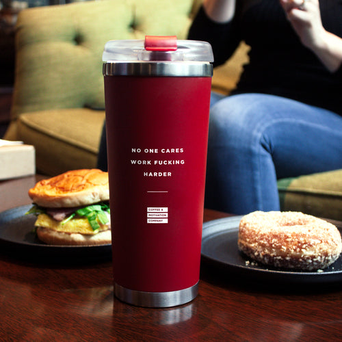 No One Cares Work Fucking Harder - 24oz Matte Red Motivational Travel Tumbler + Straw