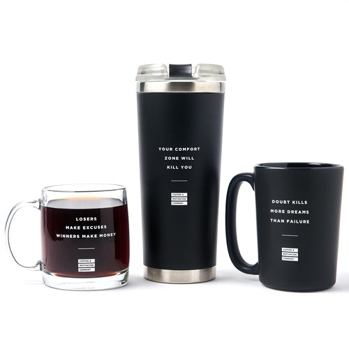 Motivational Coffee Mug, Glass Mug & Tumbler Bundle Gift Set