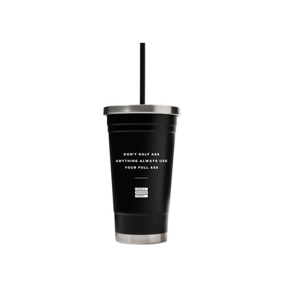 18oz Matte Black Motivational Ice Coffee Travel Mug & Tumblers w/ Quotes -  Travel Mugs - Coffee & Motivation Company